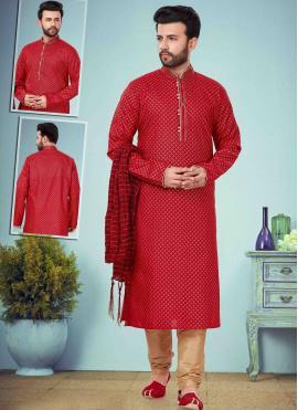 Cotton Silk Maroon Kurta Pyjama