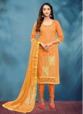 Cotton Silk Orange Fancy Churidar Designer Suit