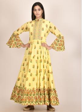 Cotton Silk Print Designer Kurti in Yellow