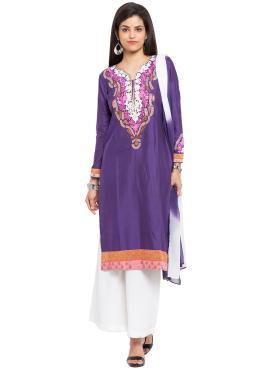 Cotton Silk Purple Readymade Salwar Kameez