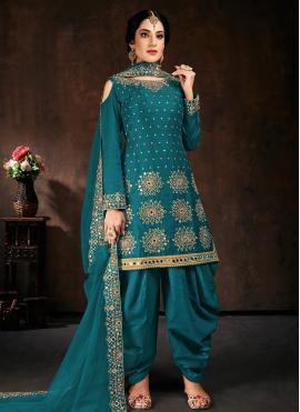 Cotton Teal Mirror Designer Patiala Salwar Kameez