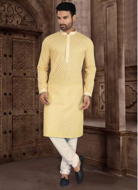 Cotton Yellow Kurta Pyjama