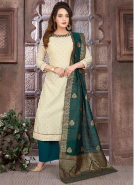 Cream and Green Embroidered Readymade Suit