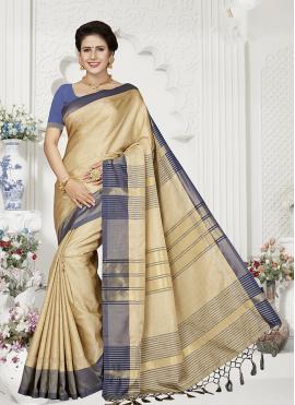 Cream Applique Designer Traditional Saree