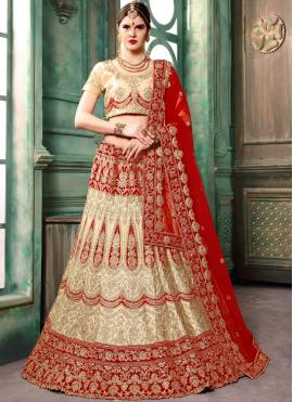 Cream Art Silk Bridal Lehenga Choli