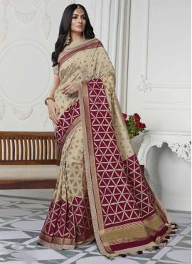 Cream Art Silk Casual Saree