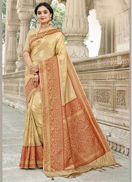 Cream Banarasi Silk Woven Traditional Designer Saree