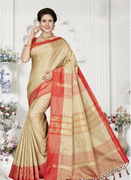 Cream Ceremonial Designer Traditional Saree