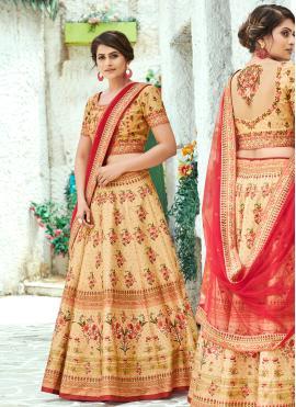 Cream Digital Print Silk Designer Lehenga Choli