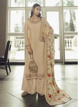Cream Embroidered Designer Pakistani Salwar Suit