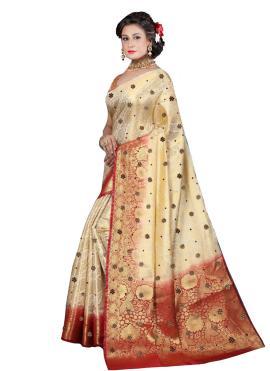 Cream Fancy Fabric Handwork Designer Saree