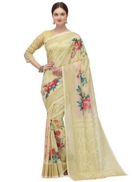 Cream Fancy Fabric Printed Saree