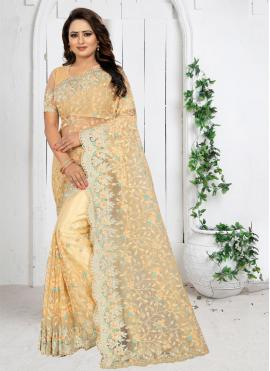 Cream Festival Net Traditional Saree