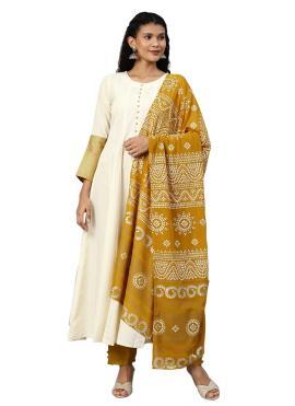 Cream Print Faux Crepe Trendy Salwar Kameez
