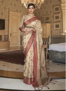 Cream Weaving Tussar Silk Traditional Saree