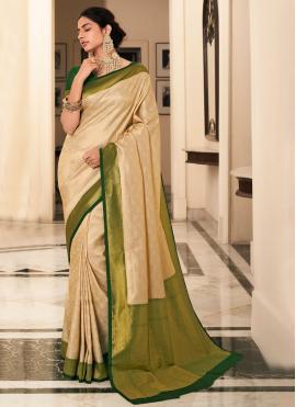 Cream Wedding Silk Bollywood Saree