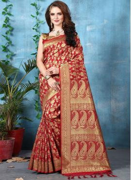 Customary Art Banarasi Silk Festival Designer Traditional Saree