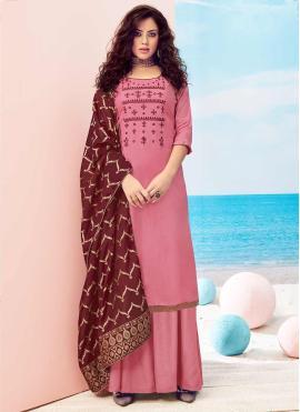 Customary Handwork Pink Viscose Pakistani Salwar Kameez