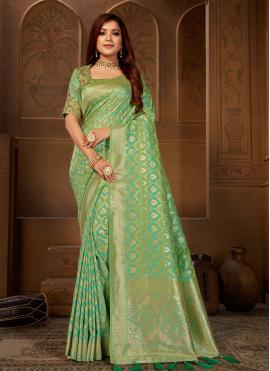 Customary Jacquard Silk Party Silk Saree