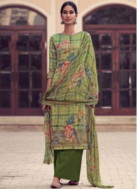 Customary Satin Green Embroidered Designer Palazzo Salwar Suit
