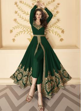 Cute Faux Georgette Resham Anarkali Salwar Kameez