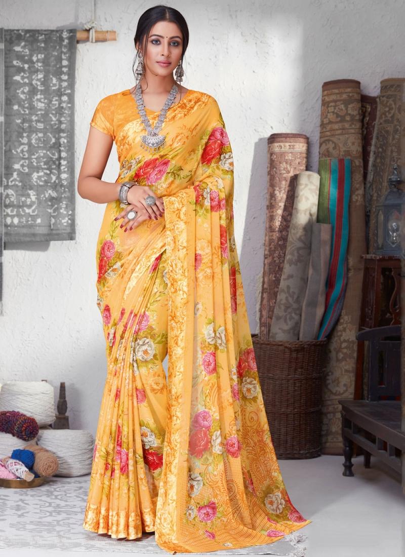Cute Floral Print Casual Saree