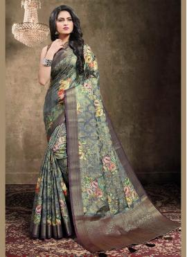Cute Multi Colour Digital Print Traditional Designer Saree