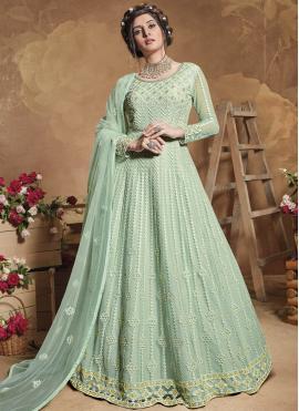 Cute Net Sea Green Sequins Floor Length Anarkali Suit