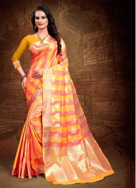 Cute Orange Party Classic Saree