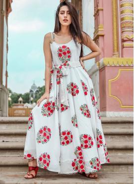 Cute Printed Muslin Trendy Gown