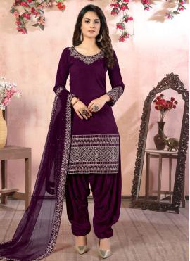Cute Purple Resham Art Silk Designer Patiala Suit