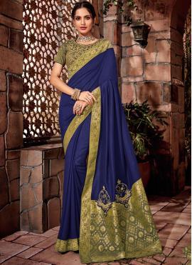 Dainty Blue Zari Georgette Designer Saree