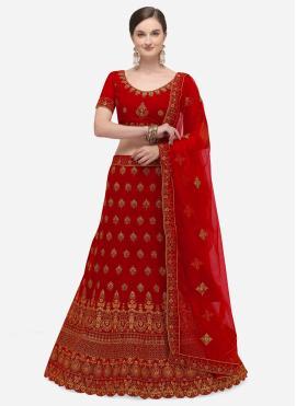 Dainty Embroidered Red A Line Lehenga Choli