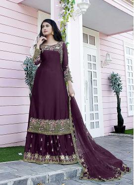 Dainty Purple Satin Designer Pakistani Suit
