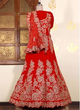 Dainty Velvet Red Patch Border Lehenga Choli