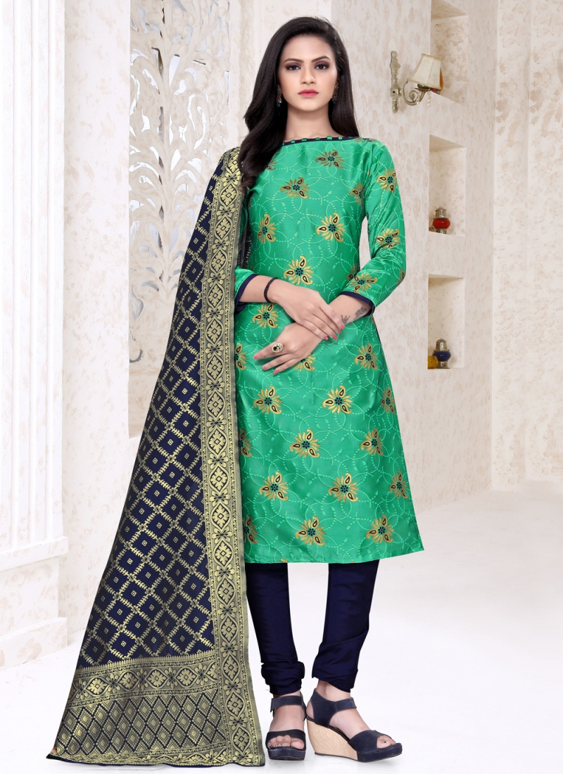 Dainty Weaving Banarasi Silk Churidar Suit