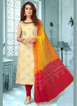 Dashing Silk Beige Bollywood Salwar Kameez