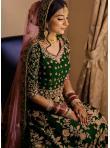 Dashing Velvet Green Floor Length Anarkali Suit - 1