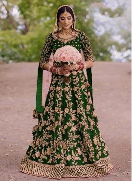 Dashing Velvet Green Floor Length Anarkali Suit