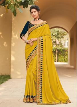 Dashing Yellow Lace Silk Classic Saree
