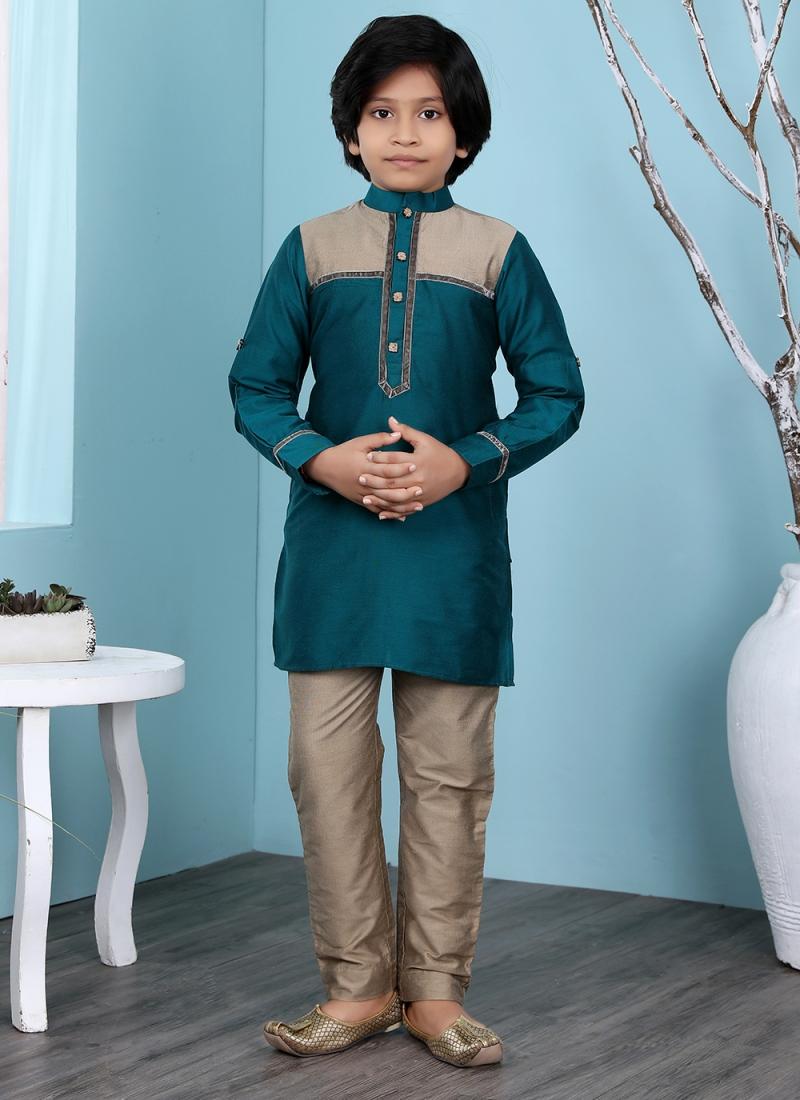 Dazzling Patchwork Cotton Silk Teal Kurta Pyjama