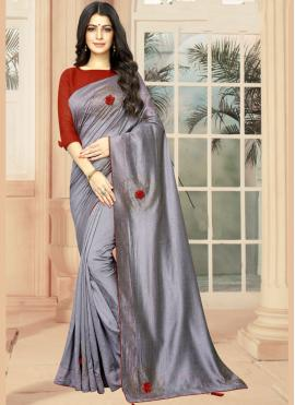 Dazzling Silk Embroidered Casual Saree