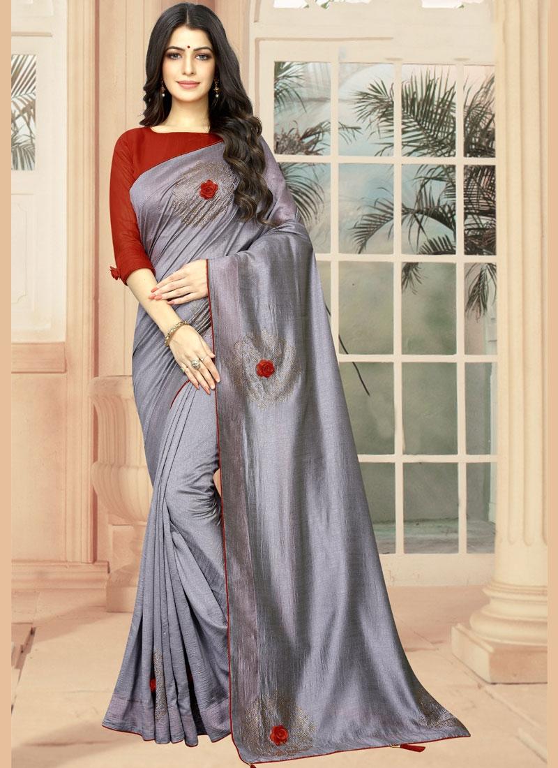 Dazzling Silk Embroidered Casual Saree
