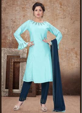 Delectable Embroidered Aqua Blue Trendy Salwar Kameez