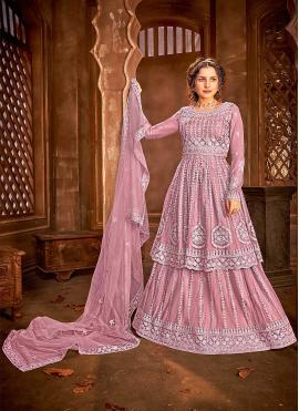 Delectable Net Embroidered Pink Long Choli Lehenga