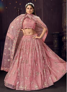 Delectable Net Thread Pink Bollywood Lehenga Choli