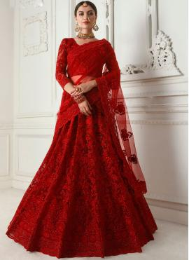 Delightful Embroidered Red Satin Silk Designer A Line Lehenga Choli