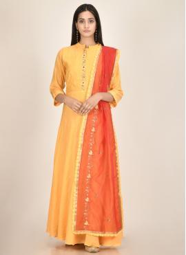 Delightful Fancy Chanderi Yellow Designer Kurti