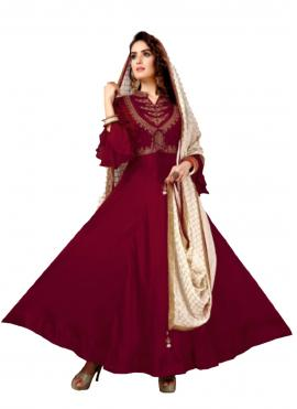 Delightful Muslin Maroon Embroidered Anarkali Salwar Kameez