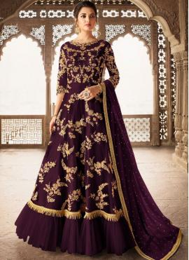 Delightful Net Purple Anarkali Salwar Suit